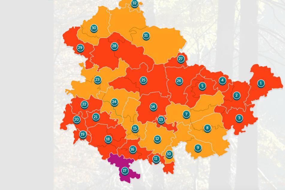 Die aktuellen Waldbrandgefahren-Stufen in Thüringen.