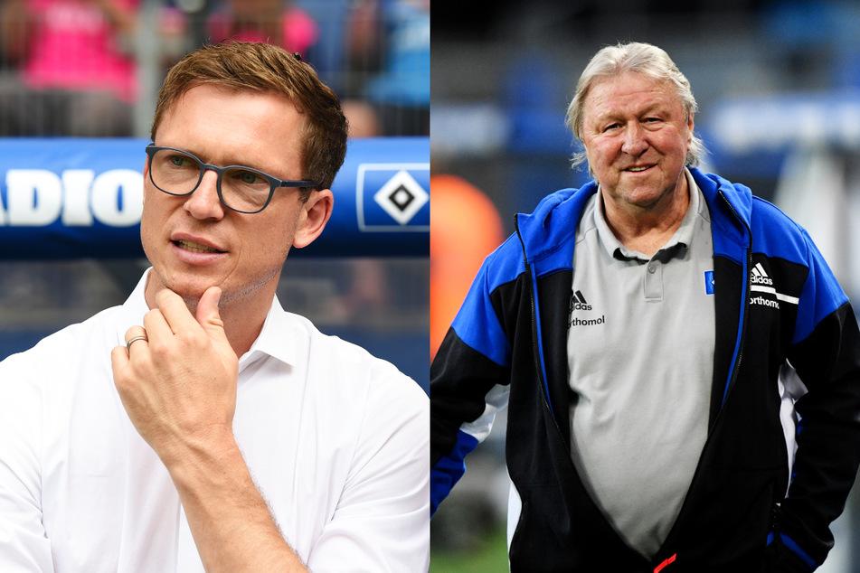 """HSV-Sportdirektor Michael Mutzel (41, r.) beschreibt Interimscoach Horst Hrubesch (70) als """"total positiven Typen"""" und setzt auf die neue Unbekümmertheit."""