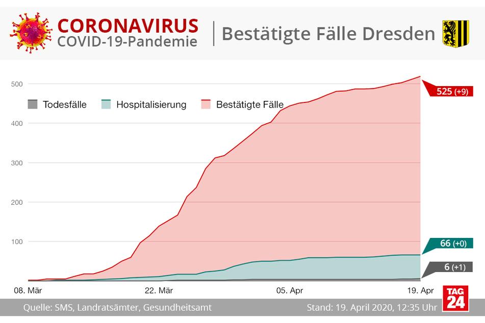 In Dresden gibt es derzeit 525 bestätigte Corona-Fälle.