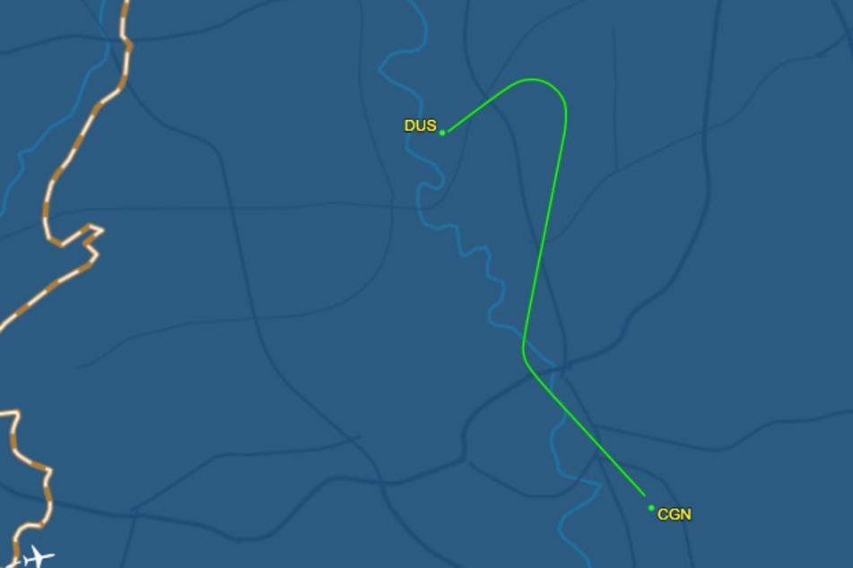 Ein Screenshot zeigt den Flug des Airbus A319 von Düsseldorf nach Köln am 29. Mai.