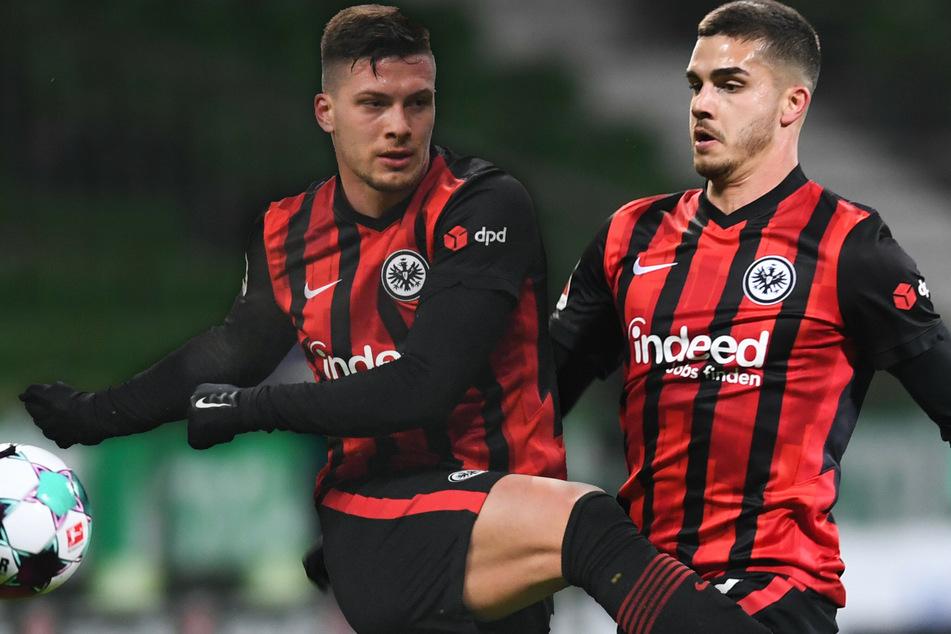 Werden gegen den VfB Stuttgart erstmals von Beginn an zusammen für Eintracht Frankfurt auflaufen: Luka Jovic (23, l.) und André Silva (25).