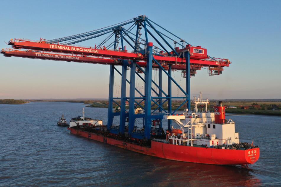 Frachter transportiert gewaltige Großcontainerbrücken auf der Elbe
