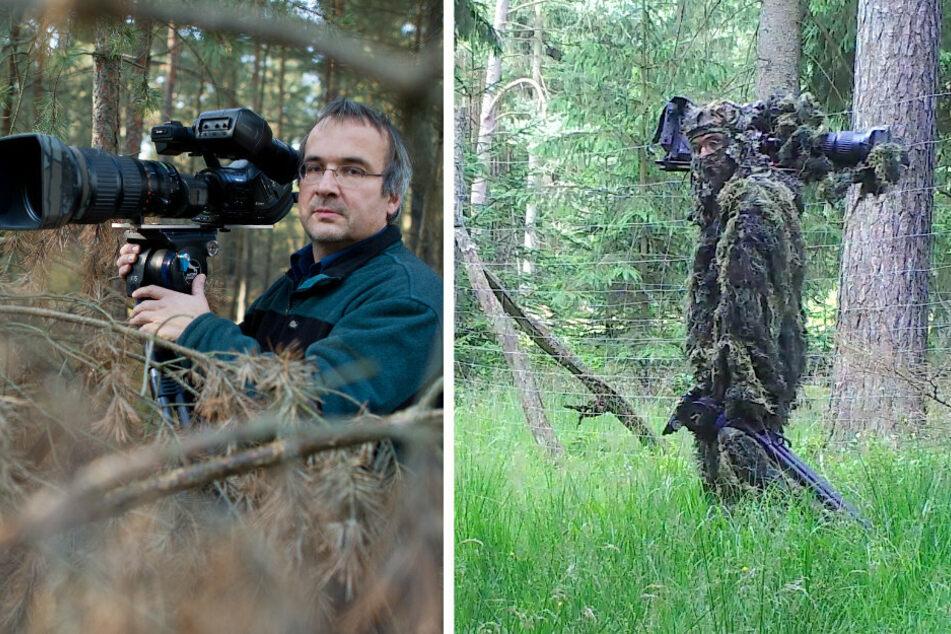 Tierfilmer Sebastian Koerner (57). Im Tarnanzug geht er auf Wolfspirsch (r.).