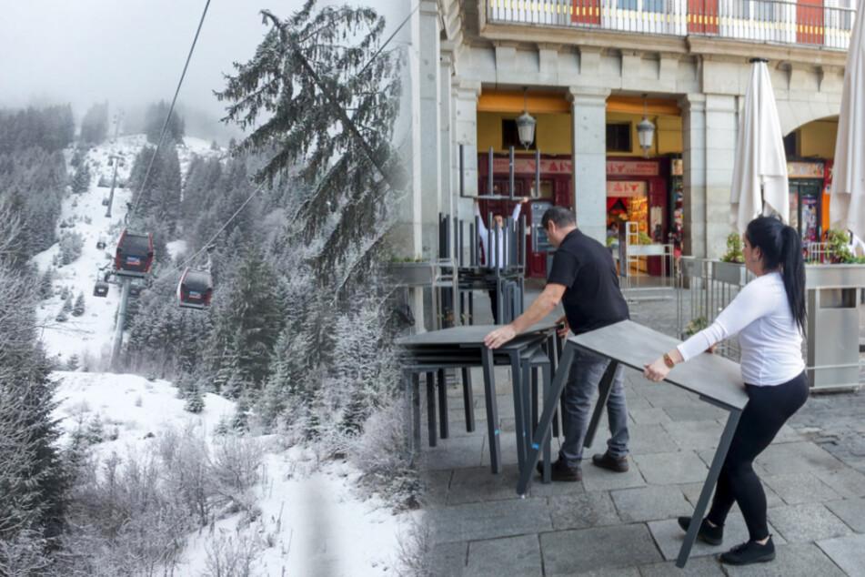 Tirol (links) und Madrid (rechts) wurden vom Robert Koch Institut nun offiziell als Risikogebiete eingestuft.