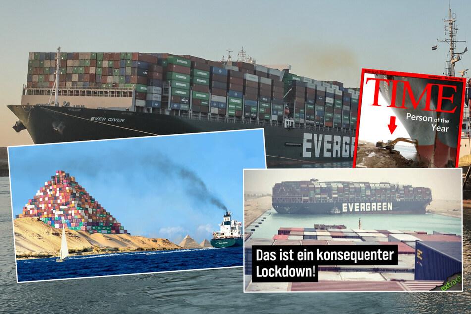 """Auf Grund gelaufene """"Ever Given"""": So lustig reagiert das Netz auf die Blockade des Suezkanals"""