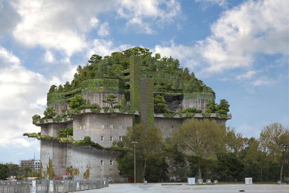 Die Visualisierung zeigt den geplanten Dachaufbau und Garten auf dem Hochbunker am Heiligengeistfeld.