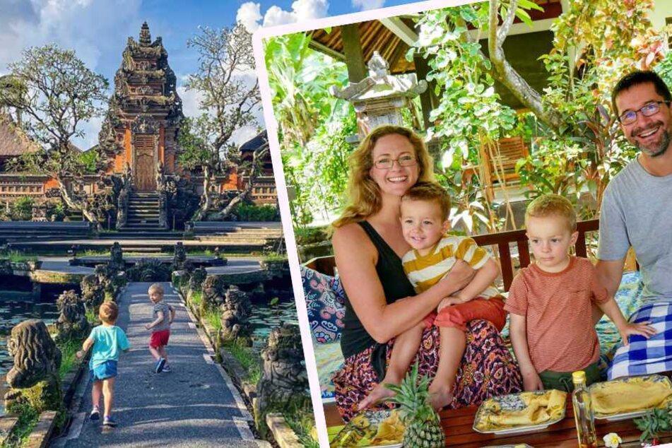 Die Familie genießt die Zeit in Bali, nahe der Stadt Ubud, sichtlich.