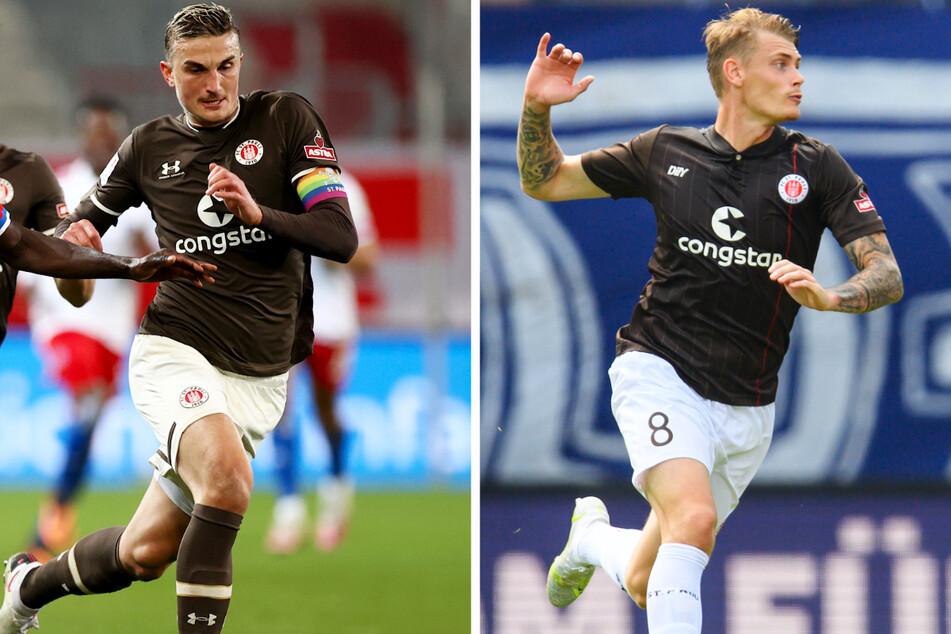 Kapitän Philipp Ziereis (28, l.) und Sechser Eric Smith (24) werden dem FC St. Pauli in Hannover nicht zur Verfügung stehen.