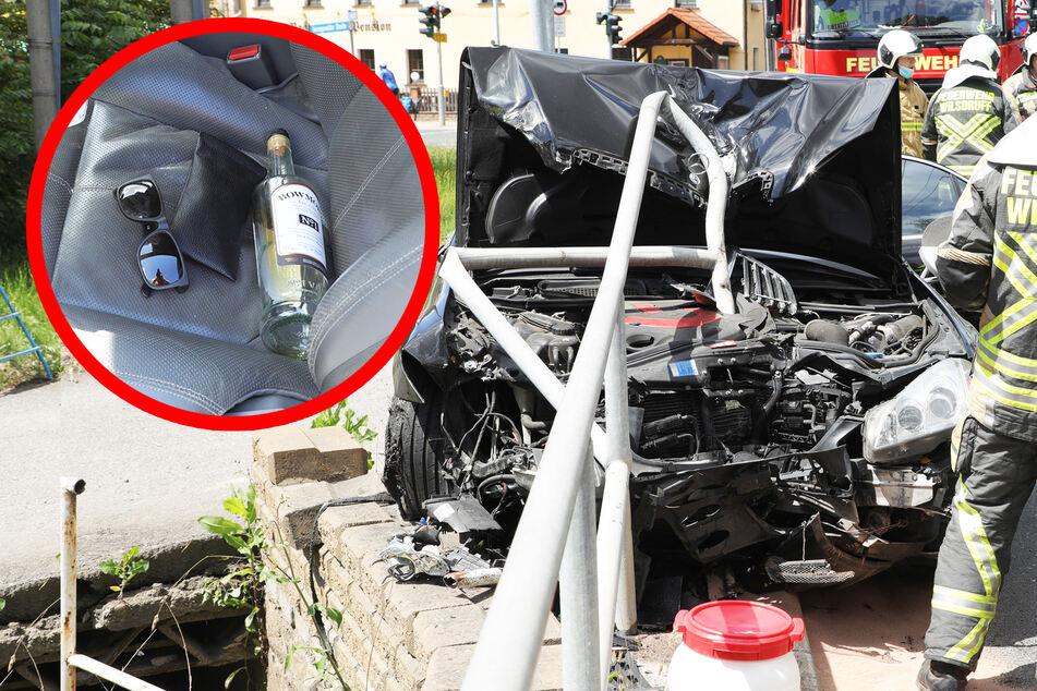 Heftiger Unfall mit Luxus-AMG in Wilsdruff: Fahrer so betrunken, dass Alkoholtest unmöglich ist