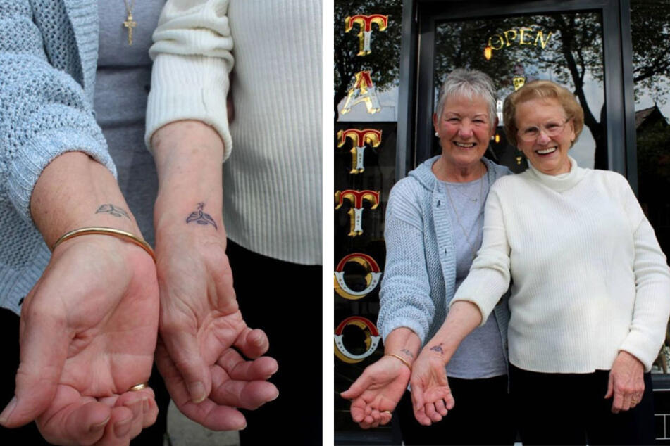Golden Girls of Liverpool: oldest person to get tatted chooses matching ink with best friend