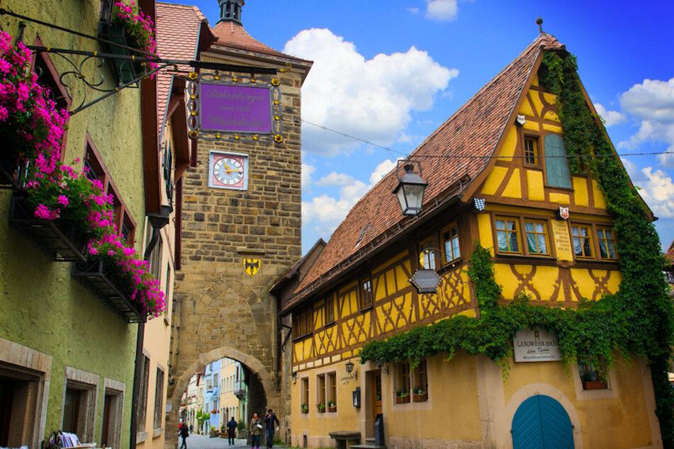 Eine Straße in Rothenburg ob der Tauber.