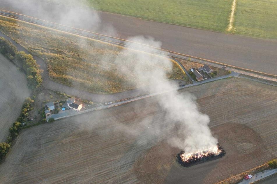 Die eingesetzten Feuerwehren ließen die Strohballen bei Laußig kontrolliert abbrennen.