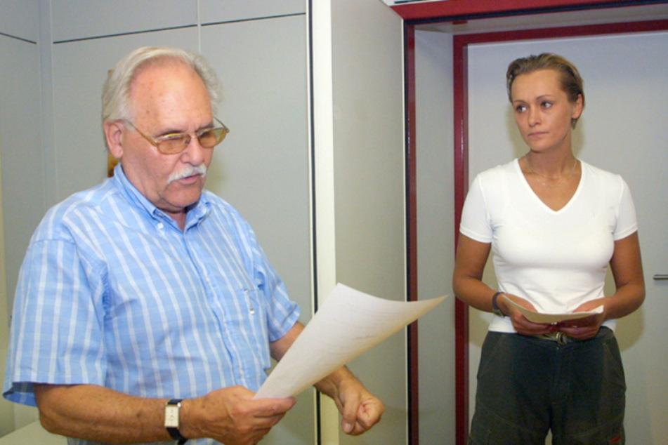 """Petra Ehlert - hier mit Regisseur Walter Niklaus - bei den Aufnahmen zum MDR-Hörspiel """"Gräfin Cosel"""" im Jahr 2012."""
