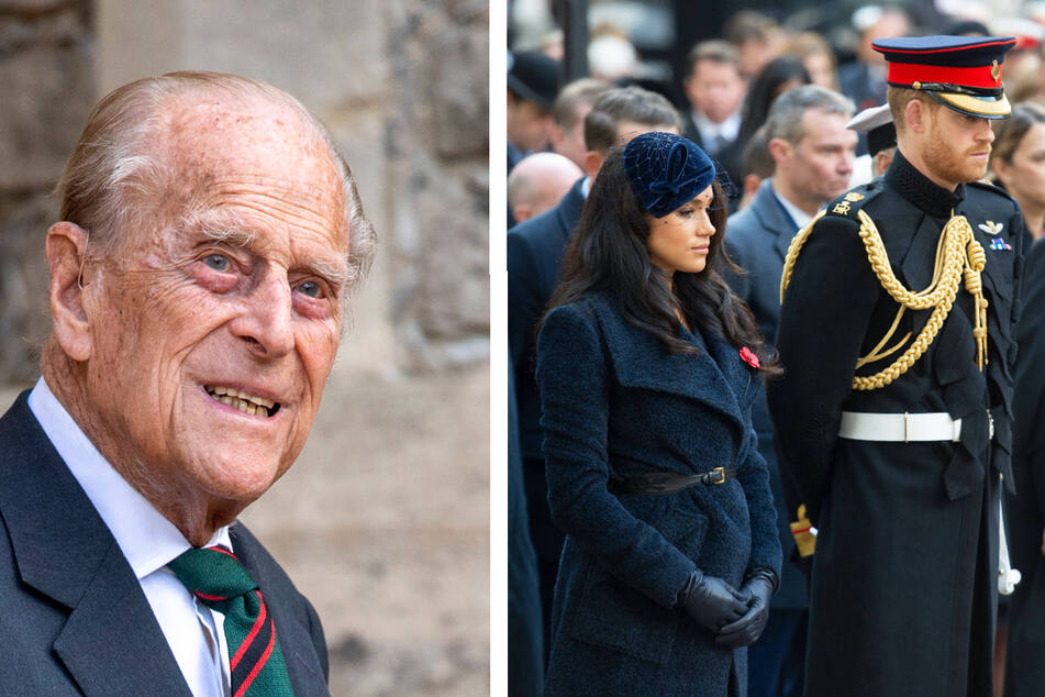 Prince Harry (r.) returns to the UK ahead of the funeral of his grandfather, Prince Philip (l.).