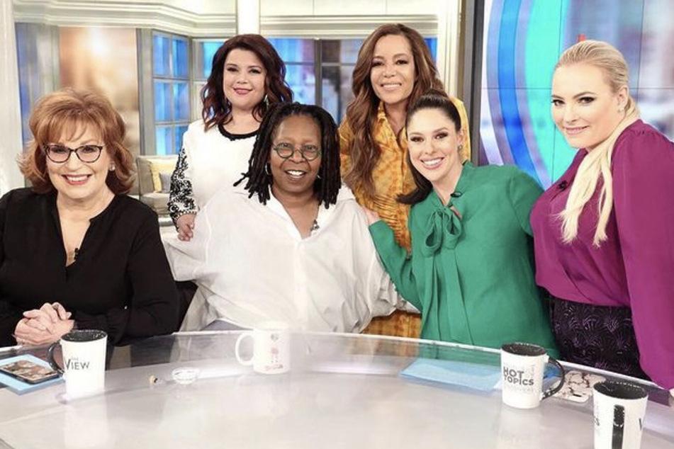 The hosts of The View (from l. to r.): Joy Behar, Ana Navarro, Whoopi Goldberg, Sunny Hostin, Abby Huntsman, and Meghan McCain.