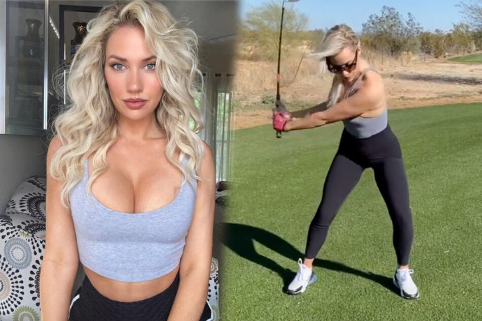 Heiße Golferin wird von Männern heimlich mit Ferngläsern beobachtet