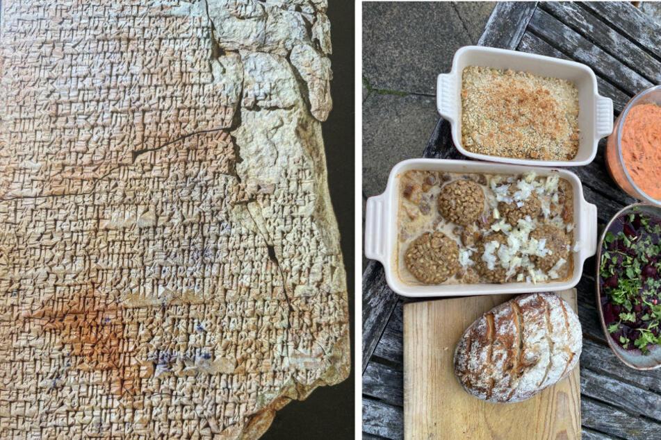 Die Gerichte (r) sehen sehr schmackhaft aus, befinden viele User. Die Vorlage bildete eine mehrere tausend Jahre alte Steinplatte (l).