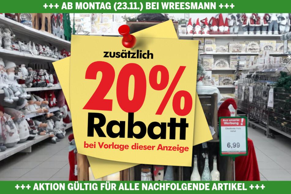 Anzeige an der Kasse vorzeigen und 20% auf alle hier gezeigten Produkte sparen.