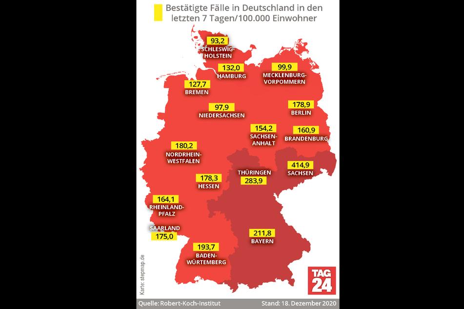 Die aktuellen Corona-Fallzahlen in Deutschland.