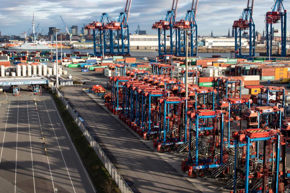 Das Foto aus dem Januar zeigt einen Container Terminal im Hamburger Hafen.