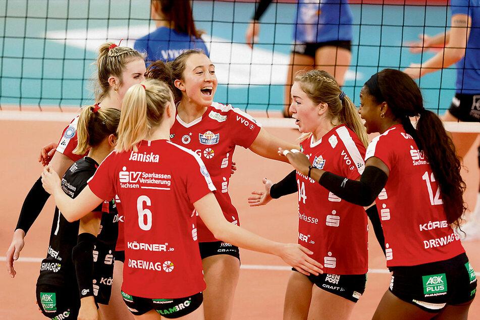 Die DSC-Girls feierten in Wiesbaden den dritten 3:0-Sieg in Folge.