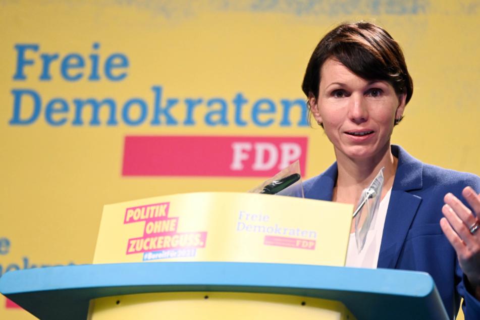 Judith Skudelny (44), Generalsekretärin der FDP Baden-Württemberg, spricht beim Landesparteitag der FDP.
