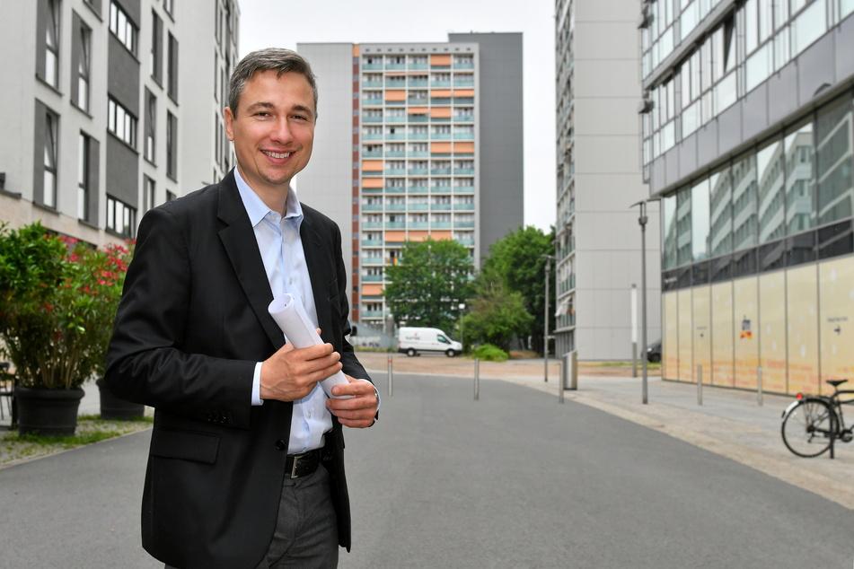 """Frühestens ab 2023 soll sich diese Seitenstraße der """"Prager"""" laut Baubürgermeister Stephan Kühn (41, Grüne) in einen """"Grünen Bogen"""" verwandeln."""