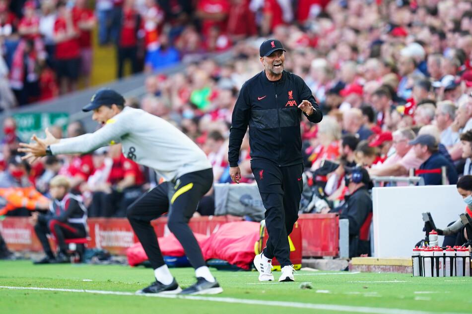 Wie man sie kennt: Chelsea-Trainer Thomas Tuchel (l.) und Liverpool-Coach Jürgen Klopp (r.) gestikulieren.