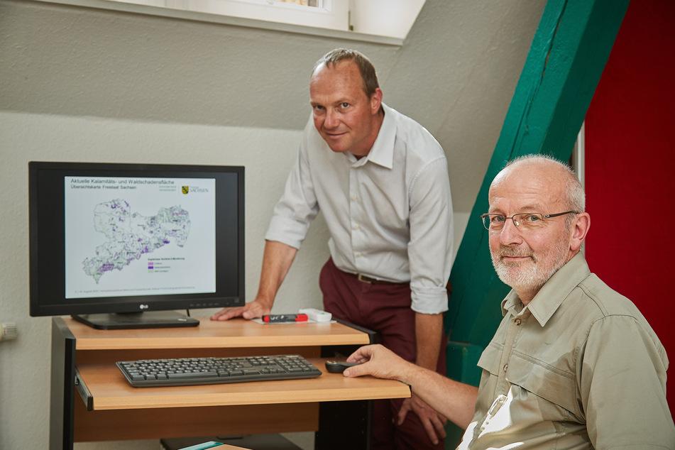Forstminister Wolfram Günther (47, Grüne, l.) und Projektleiter Dirk-Roger Eisenhauer (59): Die Karte auf dem Monitor zeigt das Ausmaß der Schäden.