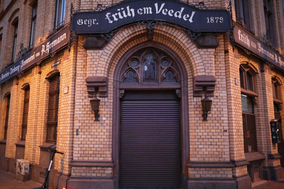 Das geschlossene Brauhaus Früh im Veedel in Köln.