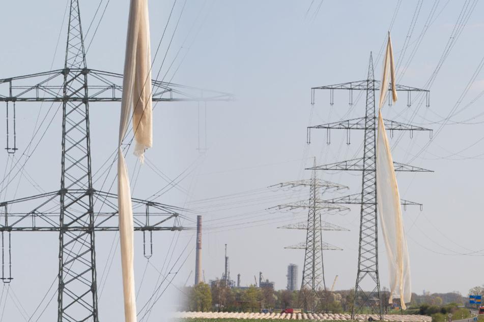 Gigantische Folie flattert in Hochspannungs-Leitung!