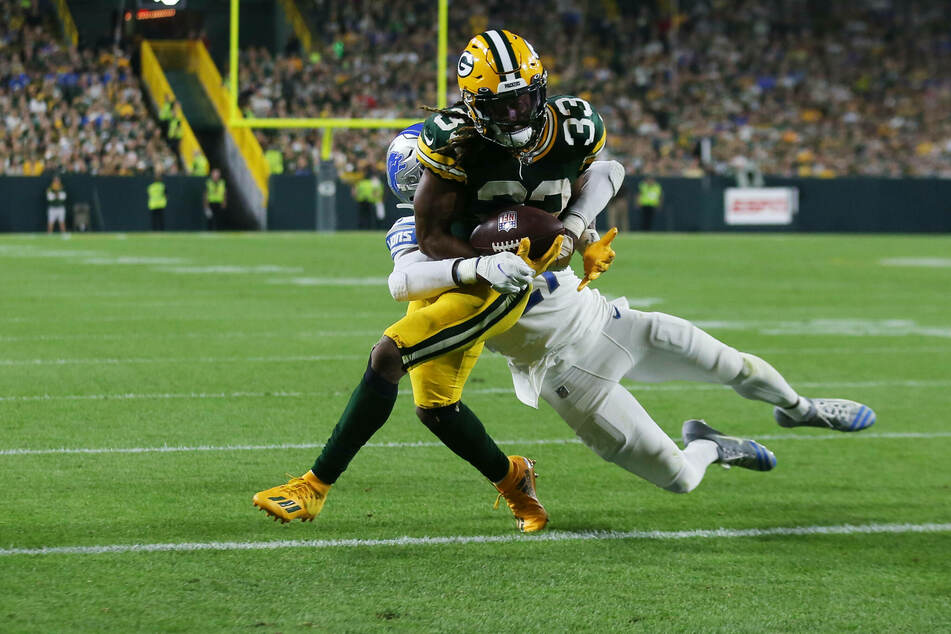 Packers running back Aaron Jones scored a total of four touchdowns in Green Bay's win over Detroit on Monday night.