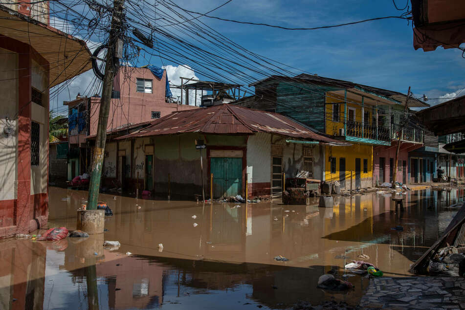 A flooded street in the area of La Lima.