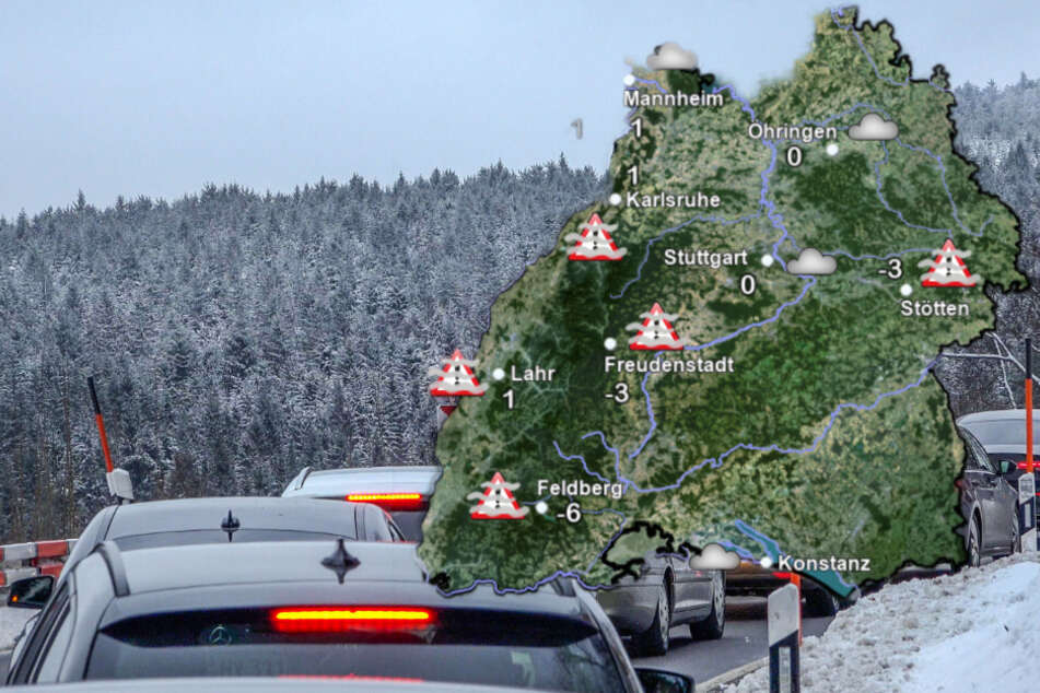 Es kam am Wochenende zu Stau auf den Straßen im Schwarzwald. (Fotomontage)