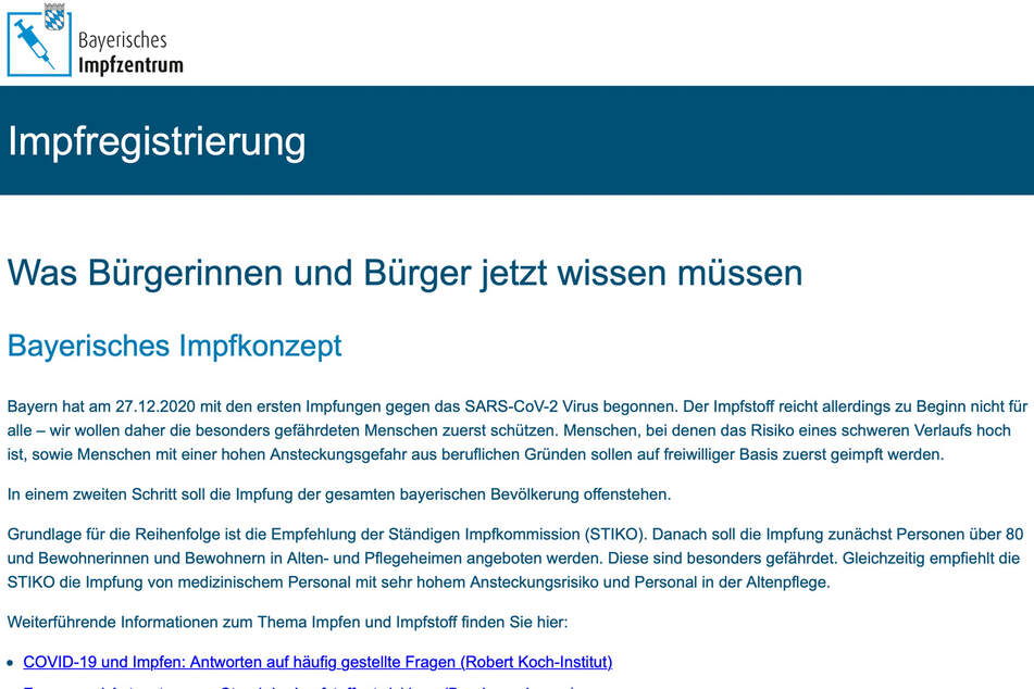 Auf der Homepage des Bayerischen Impfzentrums kann man sich online registrieren.