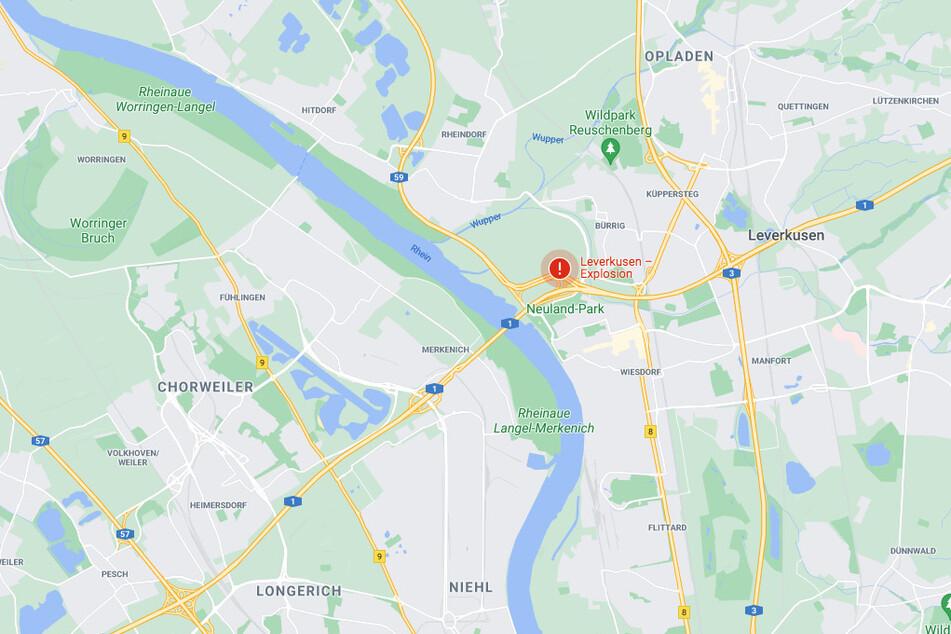 Google Maps hat den Ort der Explosion mit einem Warnzeichen markiert.