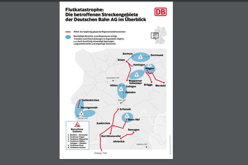 Ein Überblick über zerstörten oder beschädigten Strecken der Bahn in NRW und Rheinland-Pfalz.