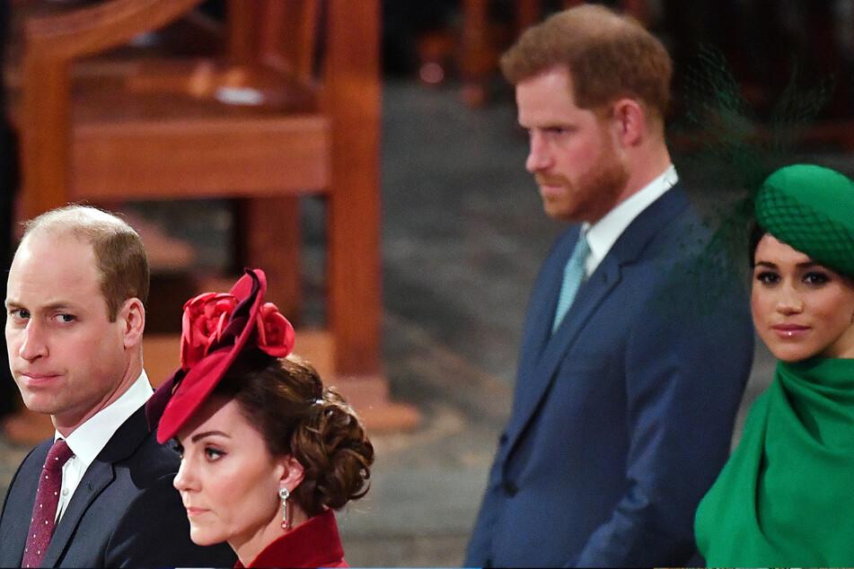 Frostiges Verhältnis? Prinz William, Herzog von Cambridge und seine Frau Catherine, genannt Kate, Herzogin von Cambridge (beide li.) sowie Prinz Harry und seine Frau Meghan.