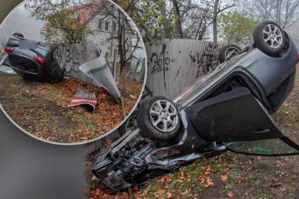 Erfurt: Opel kommt von Straße ab und überschlägt sich