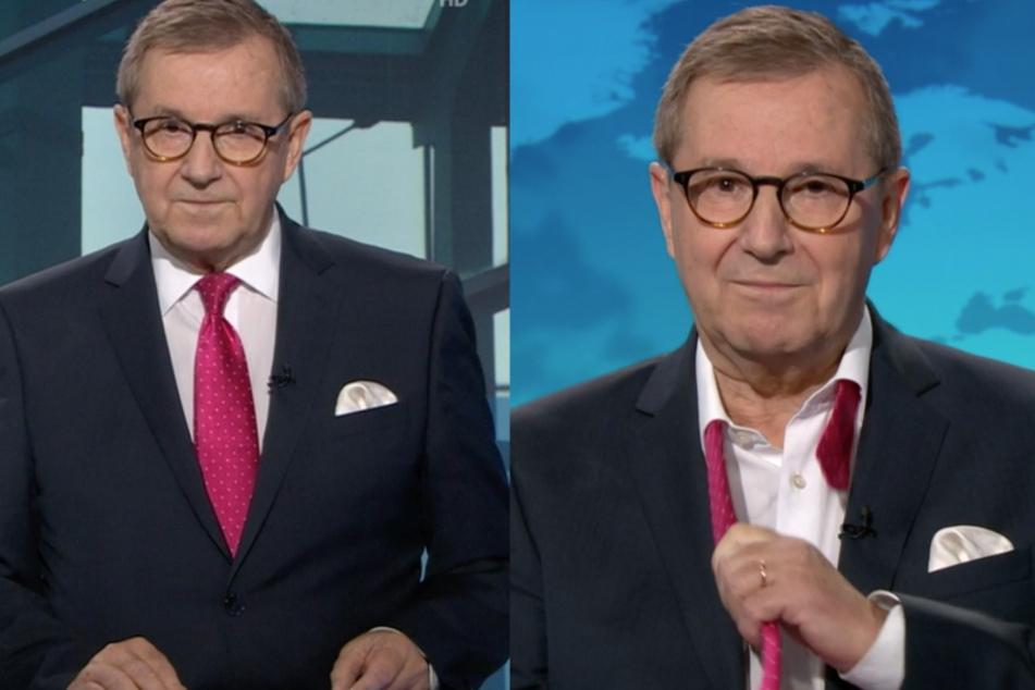 Zum Abschied legte Tagesschau-Sprecher Jan Hofer seine Krawatte ab.