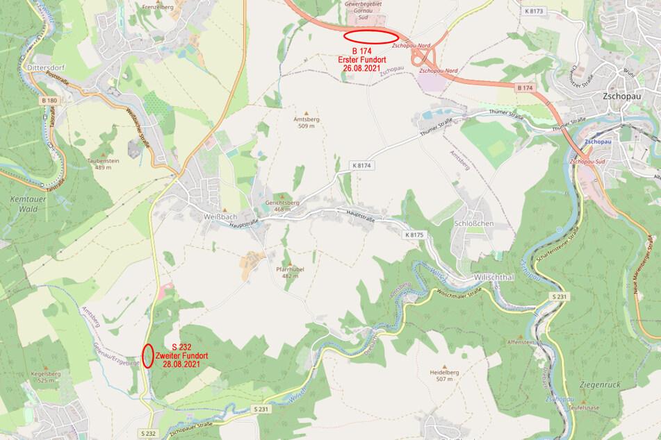 Auf der Karte sind die Fundorte der Leichenteile gekennzeichnet.