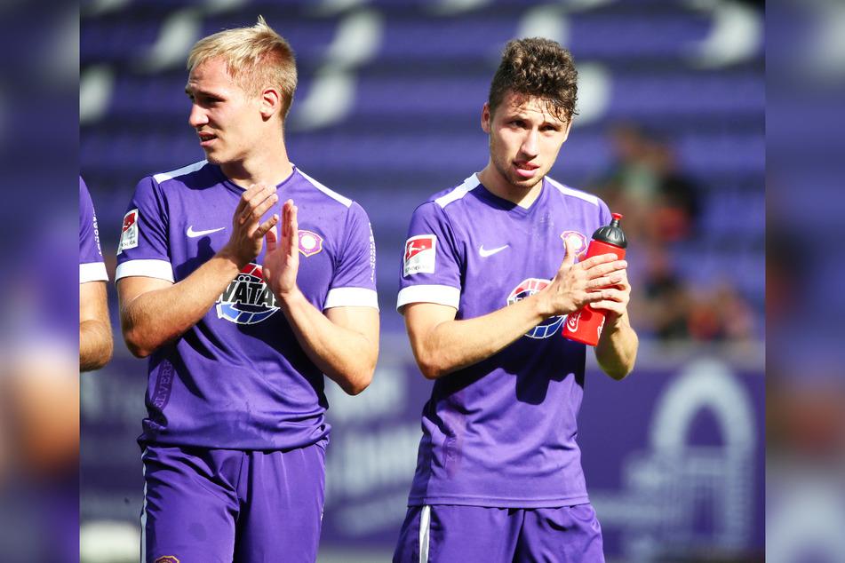 Die jungen Wilden wie Florian Krüger (l.) und Tom Baumgart bringen dem FCE bares Geld.