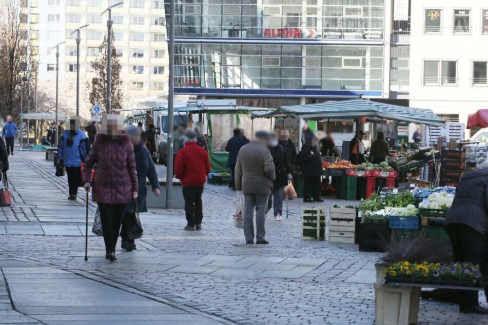 Chemnitzer auf dem Wochenmarkt