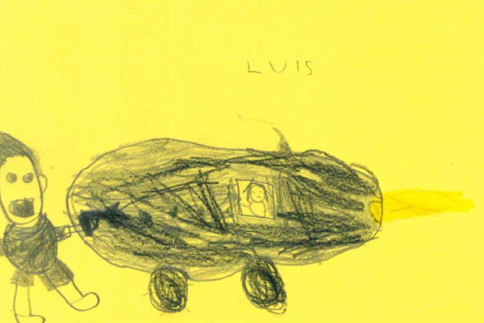 Luis (6) hat das flüchtende Fahrzeug gezeichnet.