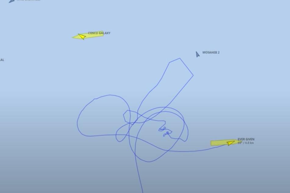 """Was einem krakelig gemalten Penis gleicht, ist der Kurs der """"Ever Given"""" kurz vorm Einlaufen in den Suezkanal."""