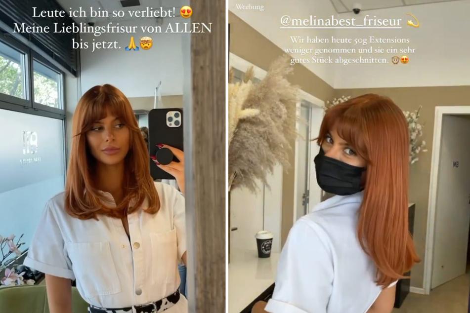 Romina Palm (22) präsentiert ihre neue Frisur begeistert in einer Instagram-Story. (Fotomontage)