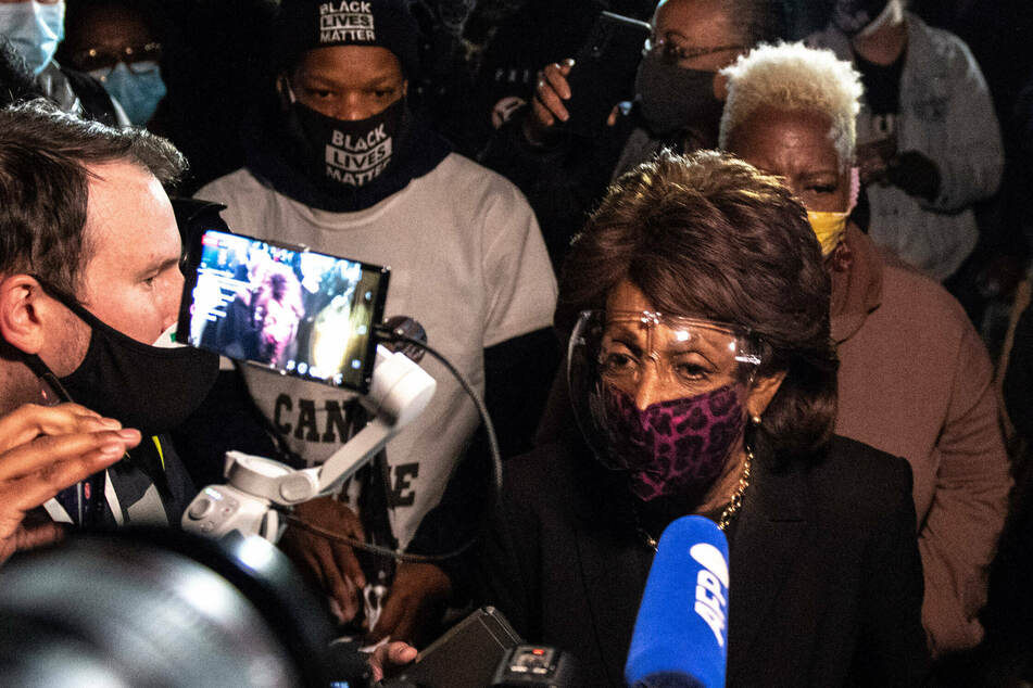 Rep. Maxine Waters made an appearance at a Brooklyn Center, Minnesota, protest after the police shooting of Daunte Wright.