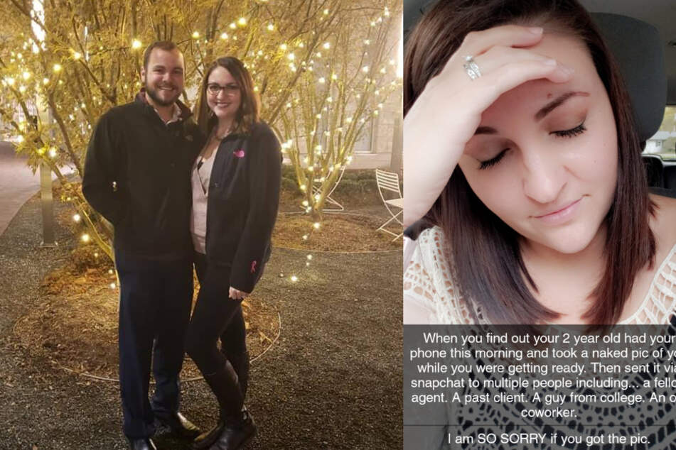 Left: Emily (30, r.) with her husband. Right: Emily posted the embarrassingly funny story on Facebook.