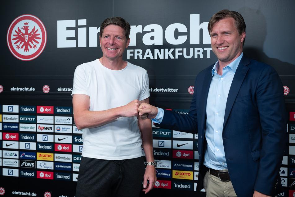 Ebenfalls neu im Amt ist Eintracht Frankfurts Sportvorstand Markus Krösche (40, r.).