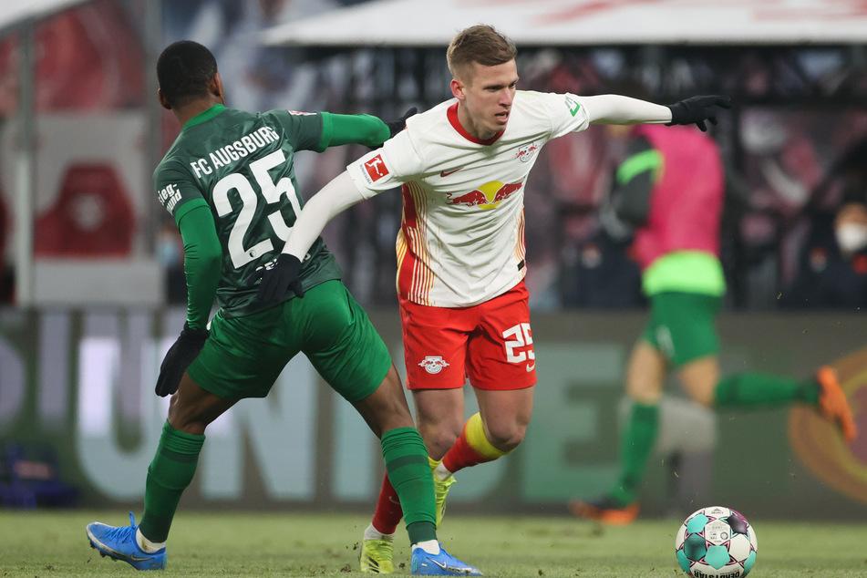RB Leipzigs Dani Olmo (22,r.) will die Meisterschaft erst komplett abhaken, wenn sie auch rein rechnerisch entschieden ist.